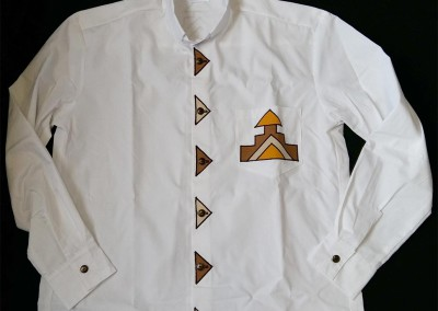 Long sleeve clerical shirt - shirting with Ndebele design - front